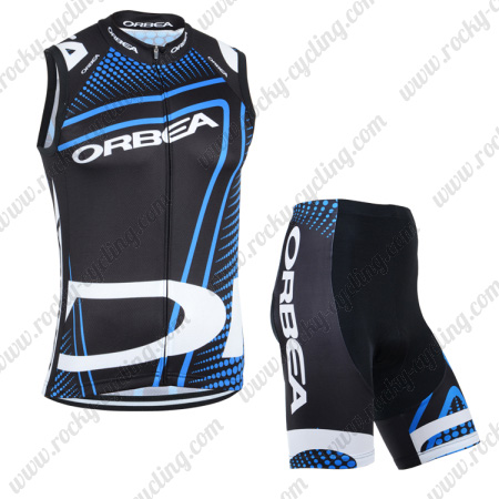... Team ORBEA Cycle Wear Riding Sleeveless Jersey and Padded Shorts Black  Blue. 2014 ORBEA Cycling Vest Tank Top Jersey Kit Black Blue 9fe462d98
