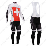 2014 Team ASSOS Cycling Long Bib Kit Red White Cross