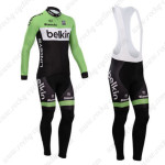2014 Team Belkin Cycling Long Bib Kit Green Black
