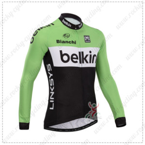 2014 Team Belkin Cycling Long Jersey Green Black