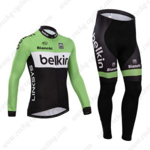 2014 Team Belkin Cycling Long Kit Green Black
