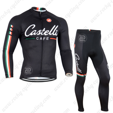 2014 Team CASTELLI CAFE Pro Winter Bicycle Outfit Thermal Fleece ... c0dae7548