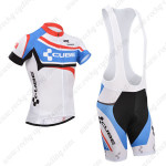 2014 Team CUBE Cycling Bib Kit White Blue