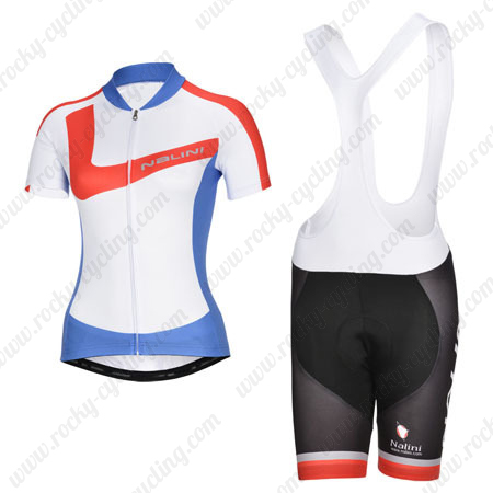 2014 Team Nalini Women s Biking Outfit Riding Jersey and Padded Bib Shorts  White Red Blue dec98a365