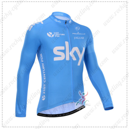 ... Winter Cycle Wear Thermal Fleece Riding Long Sleeves Jersey Maillot  Blue. 2014 Team SKY Pro Cycling Long Jersey Blue d54987978