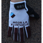 2015 Team AG2R LA MONDIALE Winter Cycling Thermal Fleece Gloves White Brown