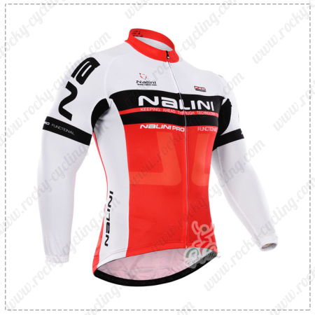 cd9182af0 2015 Team NALINI Pro Cycling Long Sleeves Jersey White Red maillot cycliste