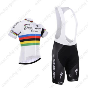 2015 Team QUICK STEP UCI Champion Cycling Bib Kit White Rainbow