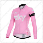 2015 Team SKY Women's Cycling Long Sleeves Jersey Pink ropa de ciclismo