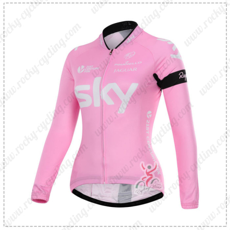 2015 Team SKY Women s Winter Cycle Wear Thermal Fleece Biking Long Jersey  Maillot Shirt Pink 232a5181d