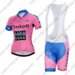2015 Team Tinkoff SAXO BANK Women's Cycling Bib Kit Pink Blue