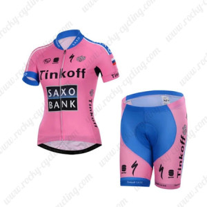 2015 Team Tinkoff SAXO BANK Women's Cycling Kit Pink Blue maillot cycliste