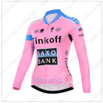 2015 Team Tinkoff SAXO BANK Women's Cycling Long Sleeves Jersey Pink Blue maillot cycliste