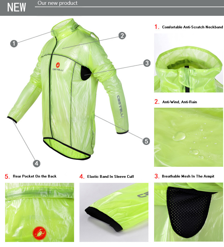 CASTELLI Cycling Windbreaker Raincoat Detail