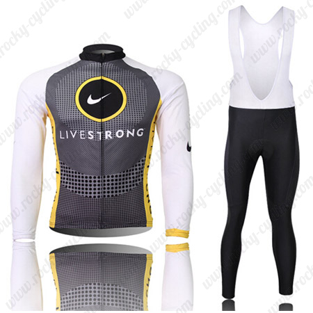 ... Winter Bicycle Outfit Thermal Fleece Riding Long Jersey and Padded Bib  Pants Tights Grey White. 2010 Team LIVESTRONG Cycling Long Bib Kit Grey  White 881f24c5d