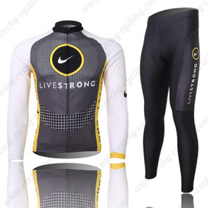 2010 Team LIVESTRONG Cycling Long Kit Grey White