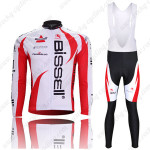 2011 Team Bissell Cycling Long Bib Kit White Red