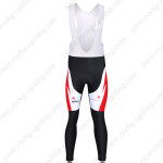 2011 Team Bissell Cycling Long Bib Pants White Red