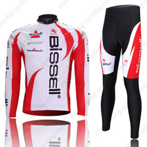 2011 Team Bissell Cycling Long Kit White Red