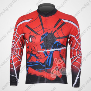 2012 Spiderman Cycling Long Sleeve Jersey Red Black