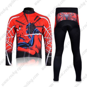 2012 Spiderman Cycling Long Sleeve Kit Red Black