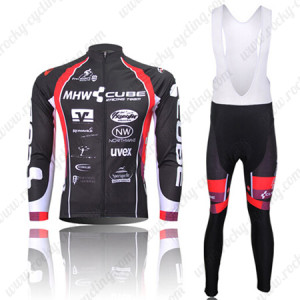 2012 Team CUBE Cycling Long Bib Kit Black Red