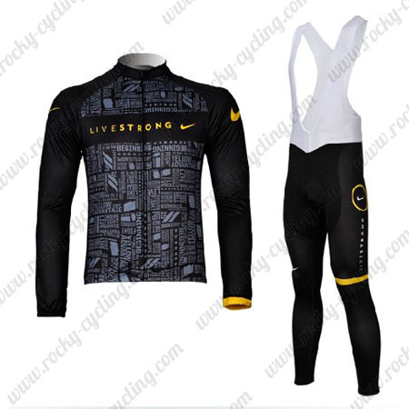 ... Pro Winter Bicycle Outfit Thermal Fleece Riding Long Jersey and Padded  Bib Pants Black. 2012 Team LIVESTRONG Cycling Long Bib Kit ae5cb9073