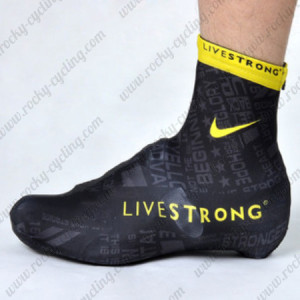 2012 Team LIVESTRONG Riding Shoes Covers Black Yellow