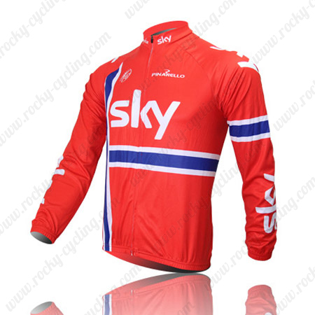 ... Winter Cycle Wear Thermal Fleece Riding Long Sleeves Jersey Maillot  Red. 2013 Team SKY Cycle Long Jersey Red df76a45ca