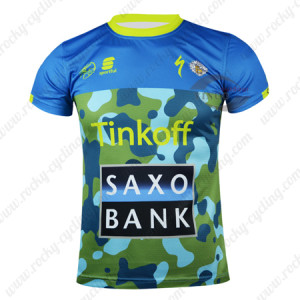 2015 Team Tinkoff SAXO BANK Cycling Outdoor Sport Apparel Sweatshirt Round Neck T-shirt Blue