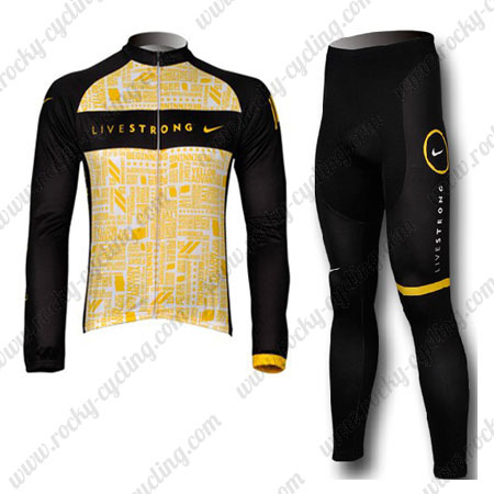0a9b1d17a ... Winter Biking Clothing Thermal Fleece Riding Long Jersey and Padded  Pants Yellow. 2012 Team LIVESTRONG Cycling Long Kit Yellow Black