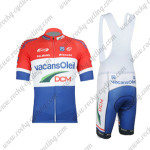 2012 Team Vacansoleil DCM Cycling Bib Kit Red White Blue