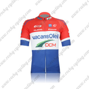 2012 Team Vacansoleil DCM Cycling Jersey Red White Blue