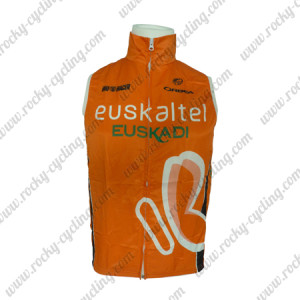 2013 Team Euskaltel EUSKADI Cycling Vest Sleeveless Waistcoat Rain-proof Windbreak Orange
