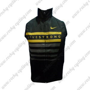 2013 Team LIVESTRONG Cycling Vest Sleeveless Waistcoat Rain-proof Windbreak Black