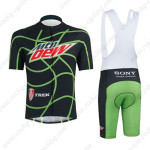 2013 Team Mtn Dew Cycling Bib Kit Black Green