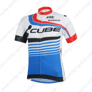 2014 Team CUBE Cycling Jersey White Blue