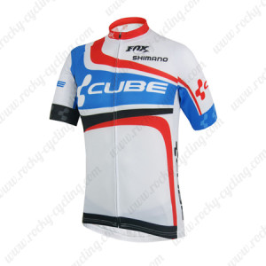 2014 Team CUBE Cycling Jersey White Blue Red