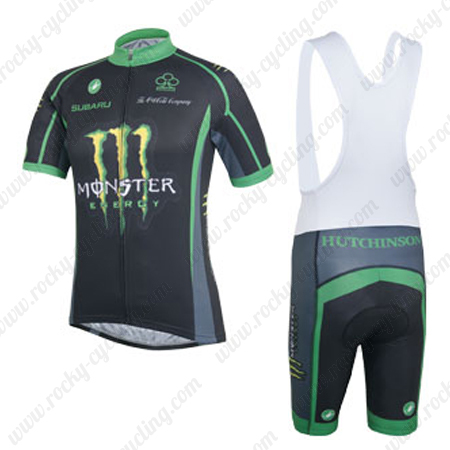 453465341 2014 Team ME HUTCHINSON Cycling Bib Kit Black Green2014 Team MONSTER ENERGY  HUTCHINSON Cycling Bib Kit