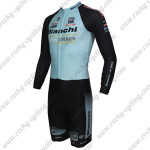 2015 Team BIANCHI Long Sleeves Triathlon Riding Clothing Skinsuit Blue Black