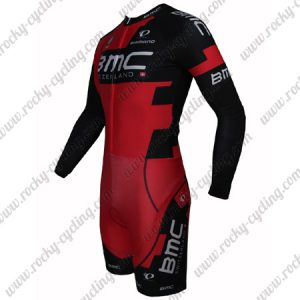 2015 Team BMC Long Sleeves Triathlon Riding Outfit Skinsuit Red Black