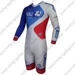 2015 Team FDJ Long Sleeves Triathlon Cycling Uniform Skinsuit White Blue Red