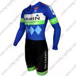2015 Team GARMIN cannondale Long Sleeves Triathlon Cycle Uniform Skinsuit Blue Green