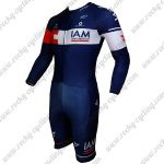 2015 Team IAM Long Sleeves Triathlon Riding Outfit Skinsuit Blue