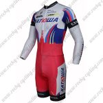 2015 Team KATUSHA Long Sleeves Triathlon Biking Outfit Skinsuit White Red