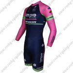 2015 Team Lampre MERIDA Long Sleeves Triathlon Riding Outfit Skinsuit Pink Blue