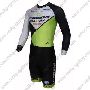 2015 Team MERIDA Long Sleeves Triathlon Cycling Outfit Skinsuit Black White Green