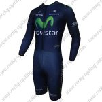 2015 Team Movistar Long Sleeves Triathlon Riding Clothing Skinsuit Blue