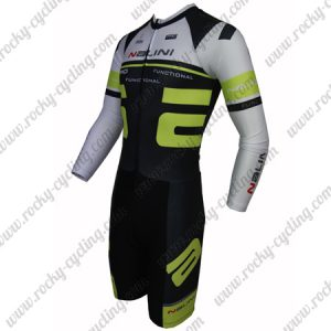 2015 Team Nalini Long Sleeves Triathlon Cycling Outfit Skinsuit Black White Green
