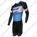 2015 Team QUICK STEP Long Sleeves Triathlon Riding Outfit Skinsuit Black Blue White